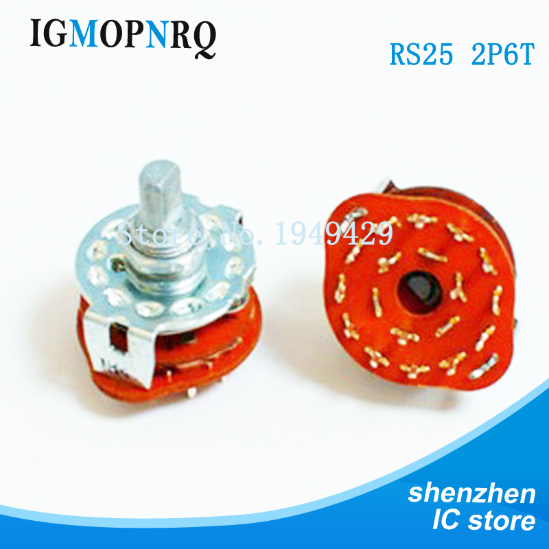 2PCS/LOT RS25 2P6T Potentiometer With Switch Shaft Panel Mount Rotary Switch Selector Band 2 Pole 6 Position
