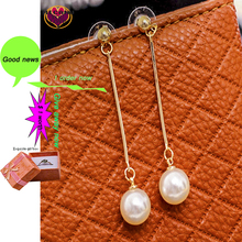 Pendientes largos pendientes colgante perla redonda de verano coreano estética minimalista moda para mujeres rayo ofrece bridal2020jewelry