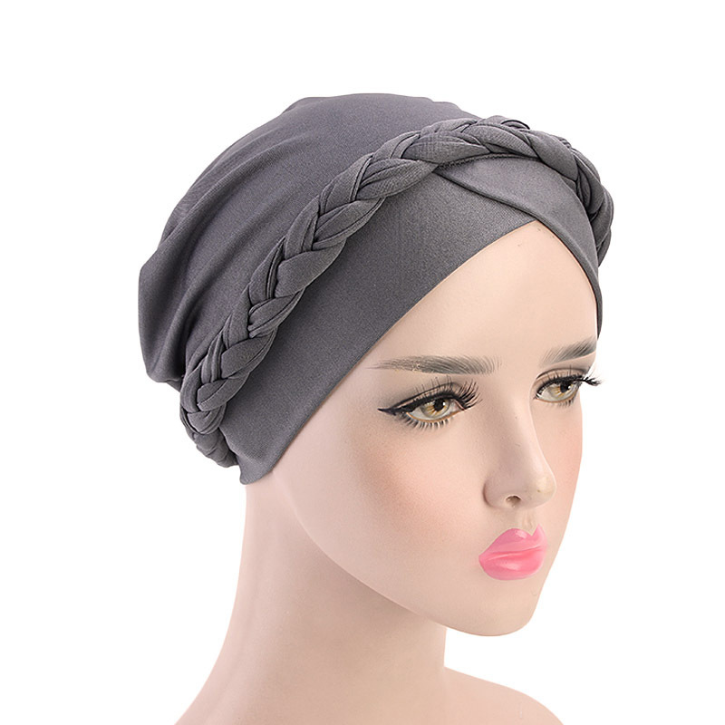 Hac444d945dfa45059b191e52aae11c9c7 - NEW arrival Retro Women Braid India caps Muslim Cancer Chemo full cover-up  Beanie Hair Loss Turban femme Wrap