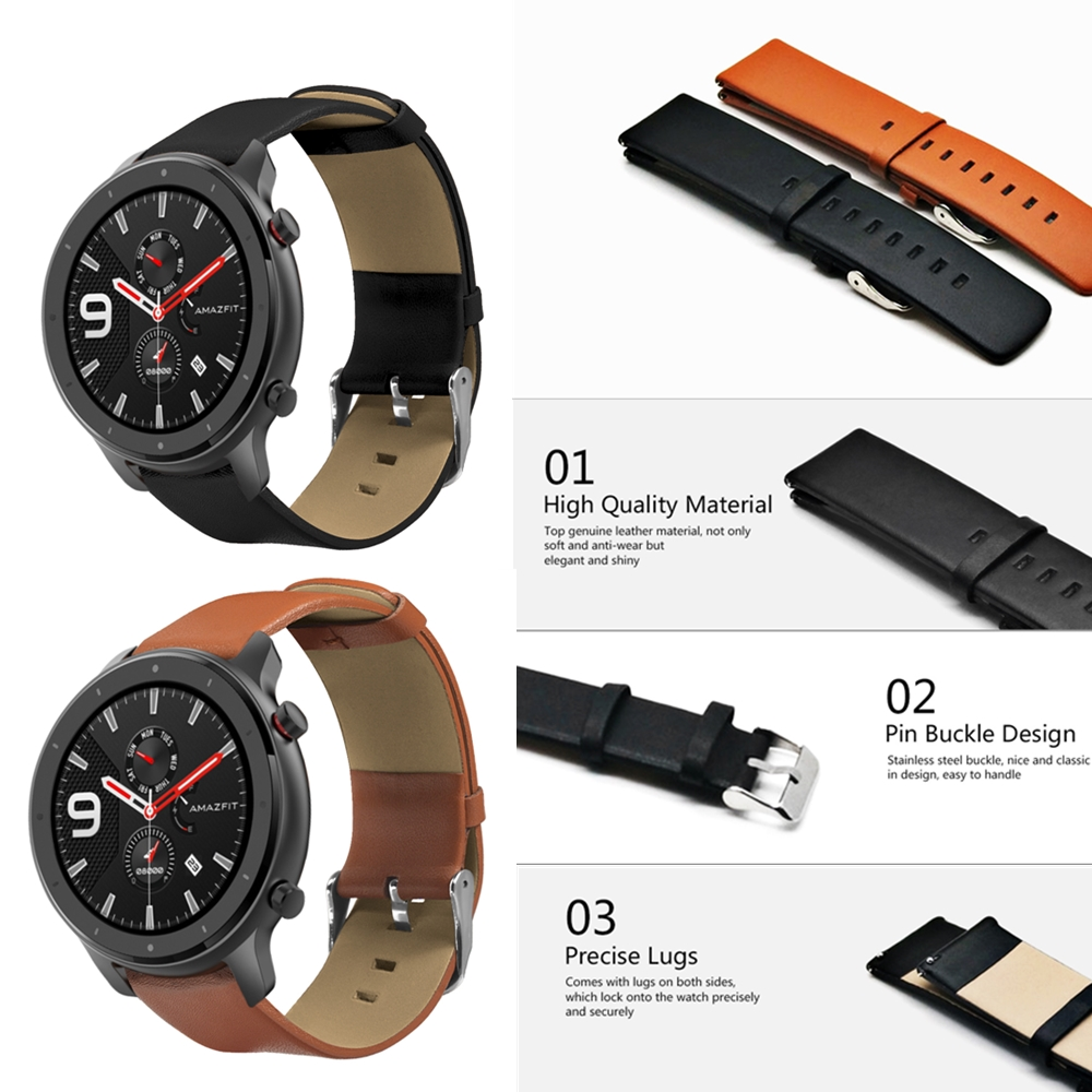 Amazfit Bracelet-Strap 22mm-Band Xiaomi Replacement Watch Universal Genuine-Leather