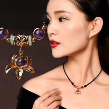 Ethnic Crystal Necklace Pendant For Women Clavicle Chain Vintage Alloy Jewelry Purple Short Necklace Simple dropshipping vintage artificial crystal floral necklace for women
