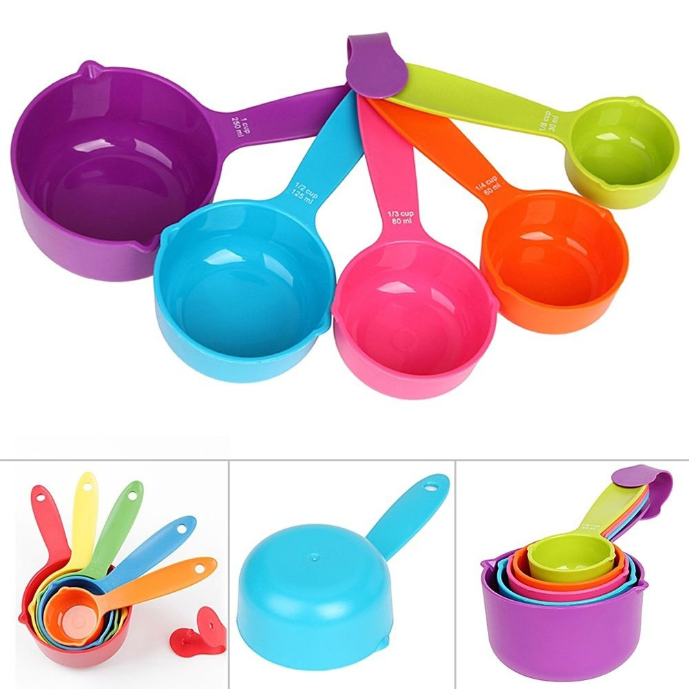5Pcs/Set Kitchen Tools Food Grade Measuring Scoop Spoons Measuring Cups Spoon Cup Baking Utensil Set Kit Measuring Tools