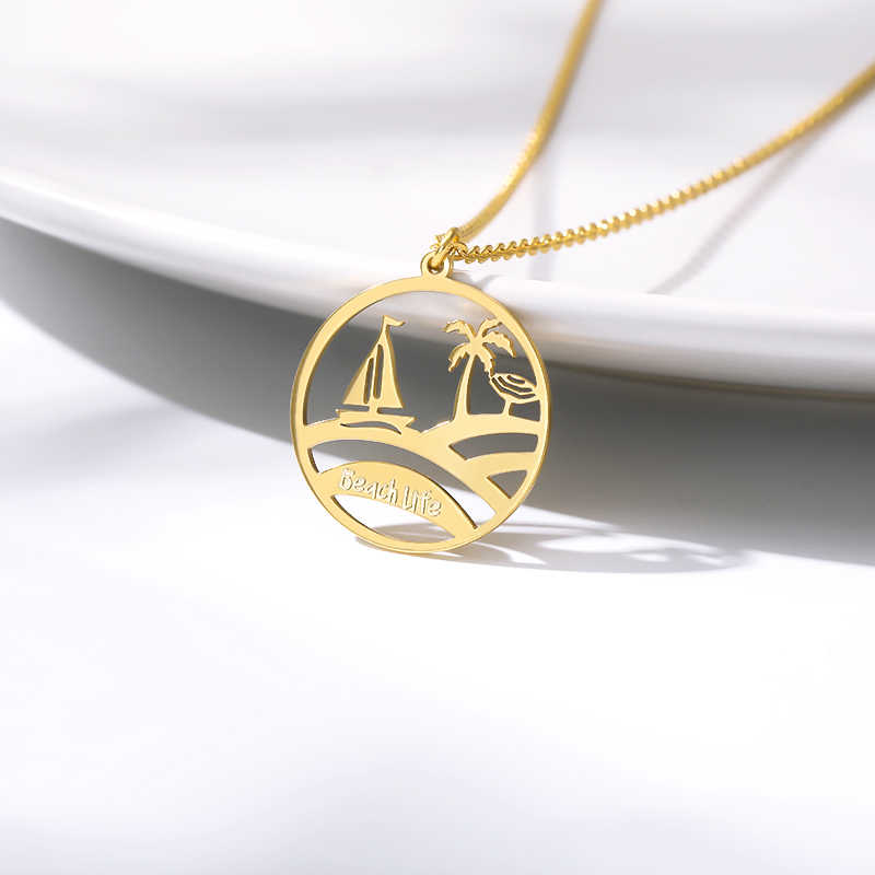 Ocean Jewelry Boat Collares Bijoux Rose Gold Circle Tree Necklace Women Friendship Gift Stainless Steel Chain Fashion Collier