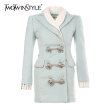 Letter Winter Coat Embroidery Women TWOTWINSTYLE Tweed-Top Patchwork Long-Sleeve Female