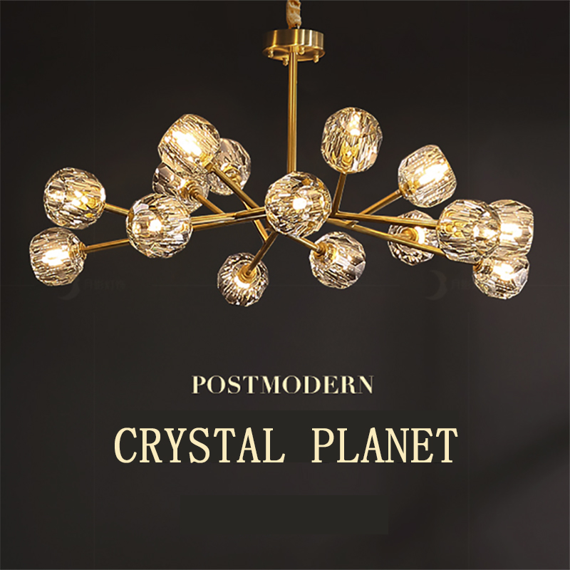 Modern American ALL Copper Crystal Chandelier Lighting and Dining Room Luxury Gold Lustre Kitchen Molecular art Hanging Lamps