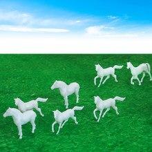 Animales de Granja pintados, modelo de caballo blanco ABS, escala 1/87 HO, para construcción de vías de ferrocarril, diseño de tren
