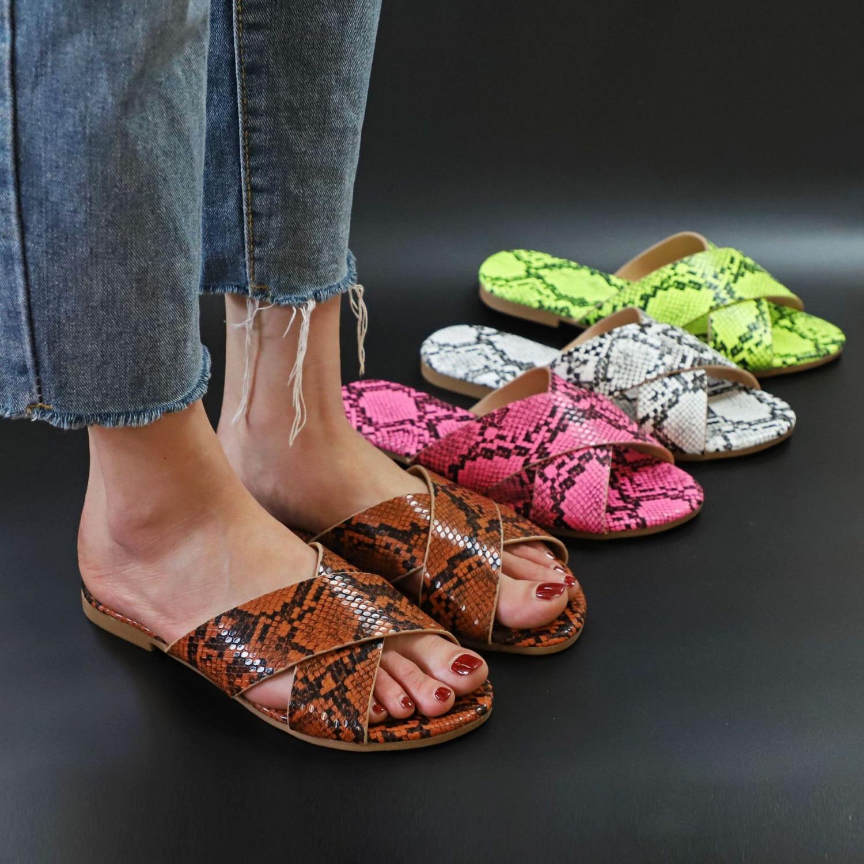Sandals Snake Non-slip Outdoor Slippers 2020 Women Fashion Wild Wild Beach Shoes Sandals Flat Bottom Ladies Slippers 1