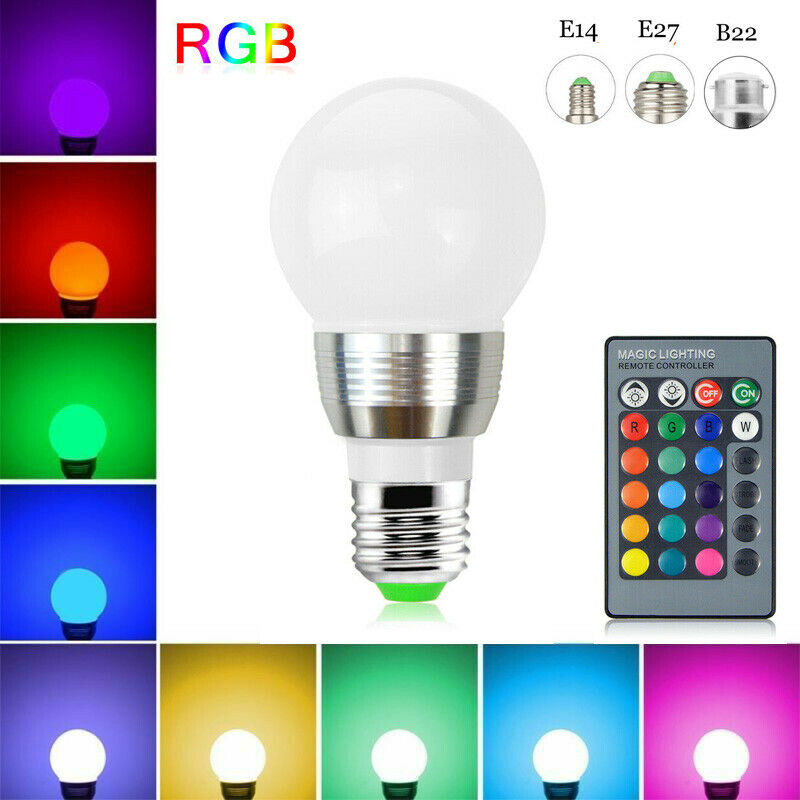 16 Color Changing LED RGB Globe Light Bulbs 3W With Remote Control E14 E27 B22 Screw Bayonet Base Home Decoration Lamp 85-265V
