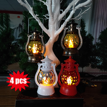 4 pcs/Set Warm Light Storm Lantern Christmas Pattern Small Led Lamp Decoration Laser Snowflake Santa Claus Pony Xmas Pendant