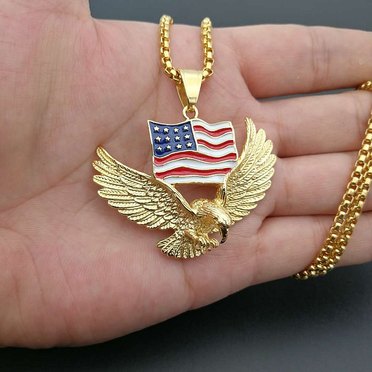 American Flag Eagle Necklace Statement Jewelry Gold/Silver Color Stainless Steel Animal Charm Pendant&Chain for Men Jewelry Gift