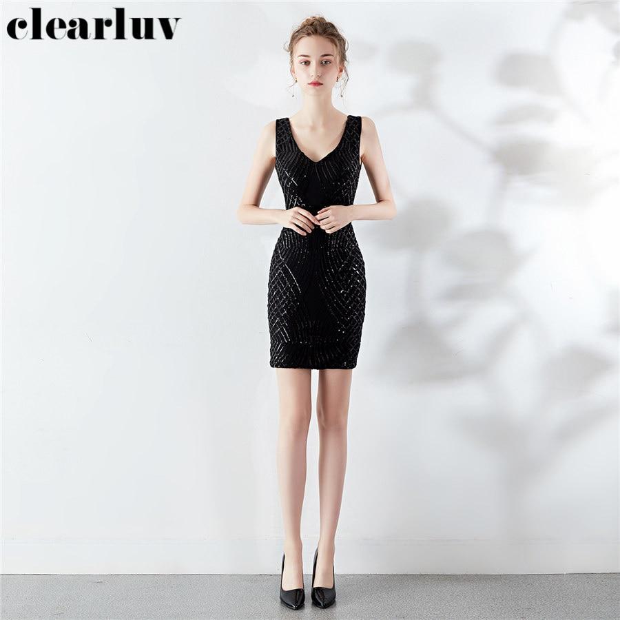 Tank Prom Gown Sequins Dresses Women Party Night DX294-1 2020 Double V-Neck Vestidos De Gala Black Plus Size backless Prom Dress