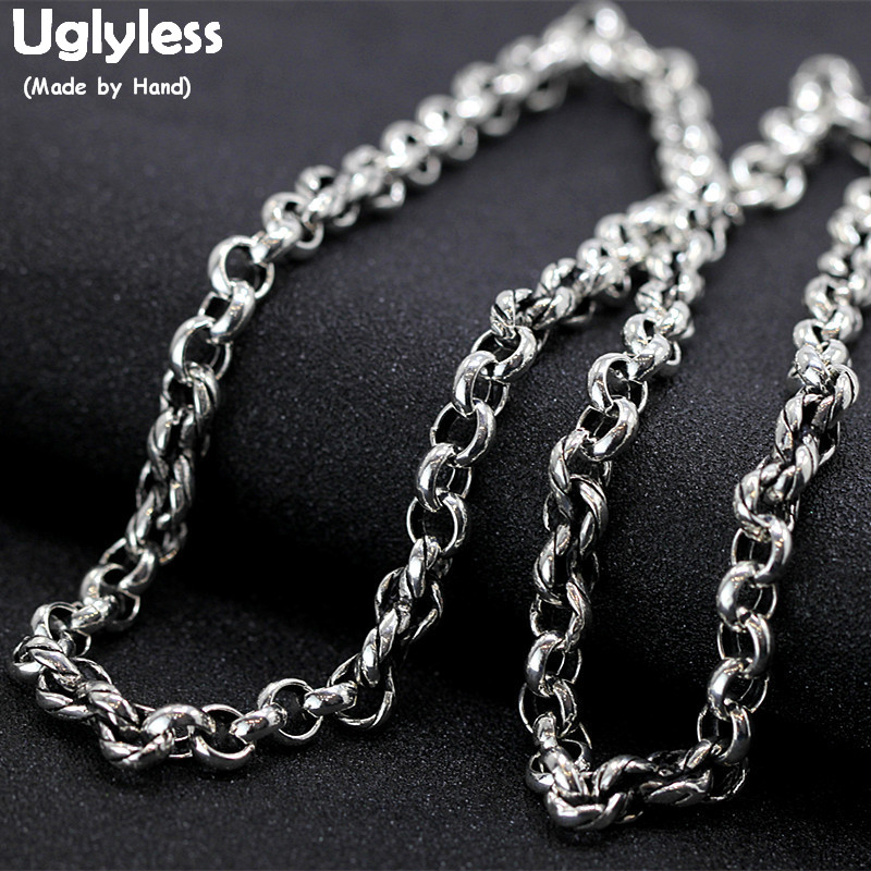 Uglyless 6MM Thick O Chains Pearl Chains Necklaces Men 925 Silver Hip Hop Glossy Statement Necklace NO Pendant Fine Jewelry C160