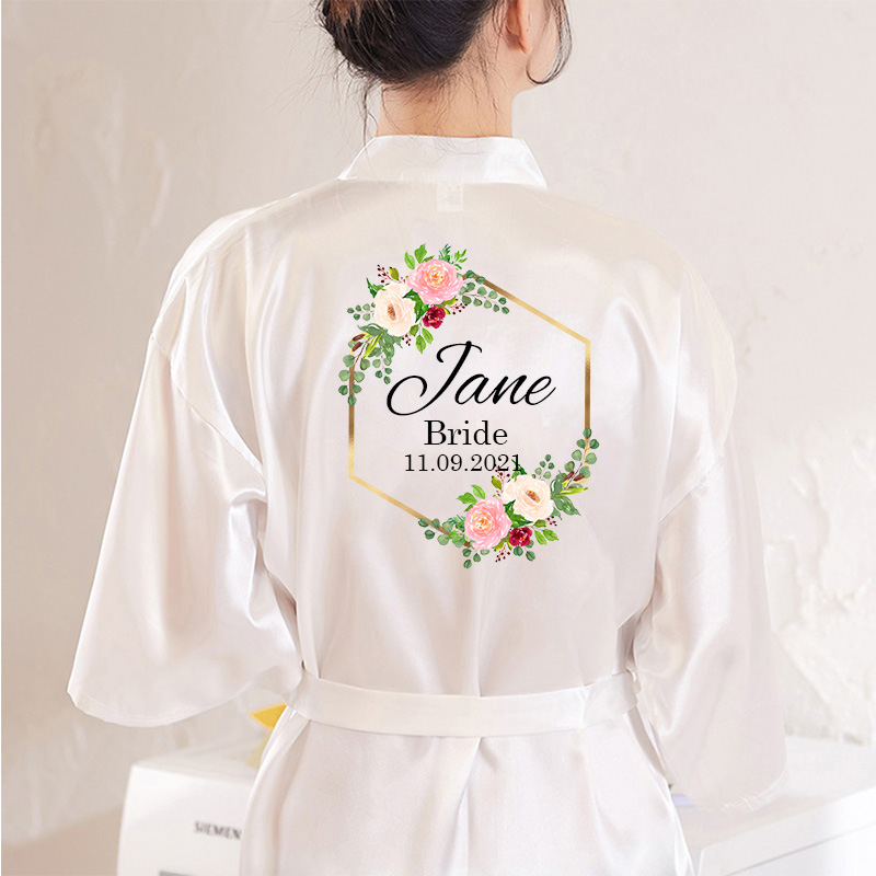 Personalized Custom Name  Flower Print  Wedding Bride Team Robes Bridal Party Robes Bridesmaid Robes Gift