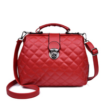 Women Handbag Genuine PU leather Shoulder Bag Doctor Small Plaid Rivets Crossbody Fashion Bags