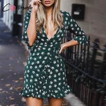 Conmoto beach summer casual dress women wrap ruffles vintage plus size dresses half sleeve feminino dress vestidos(China)