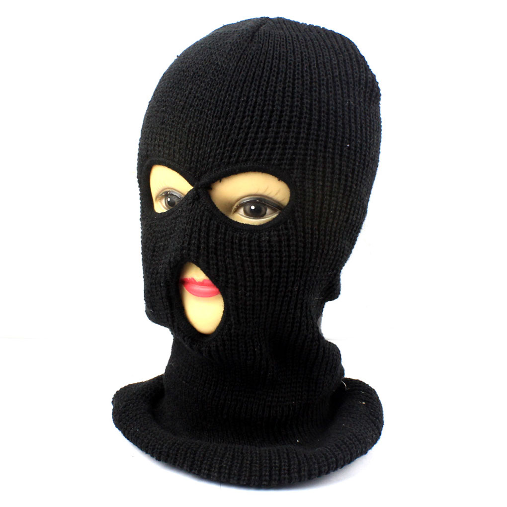 Funny Full Face Cover Mask Three 3 Hole Knit Hat Winter Stretch Snow Mask Beanie Hat Cap New Black Warm Face Masks