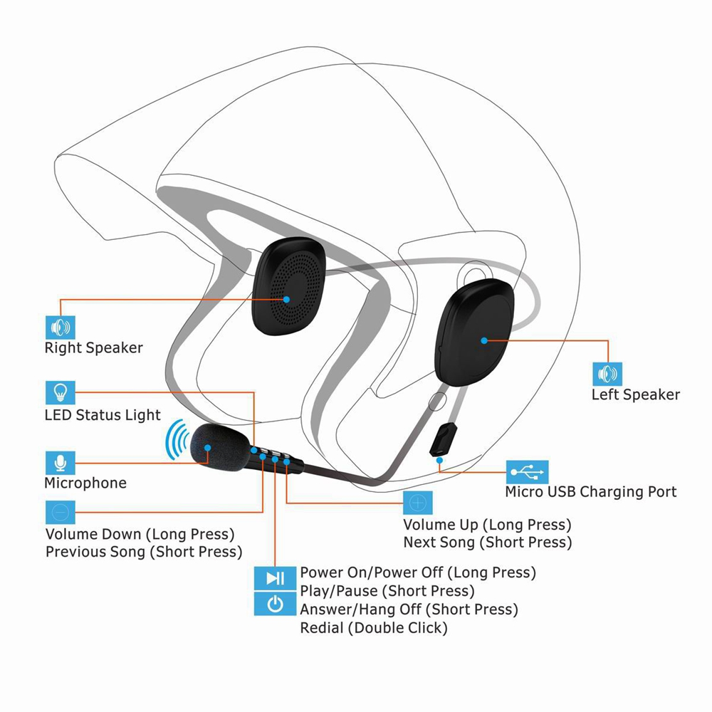 Helmet Headset Moto Bluetooth V4.2-Intercom Anti-Interference Hands-Free Waterproof Wireless