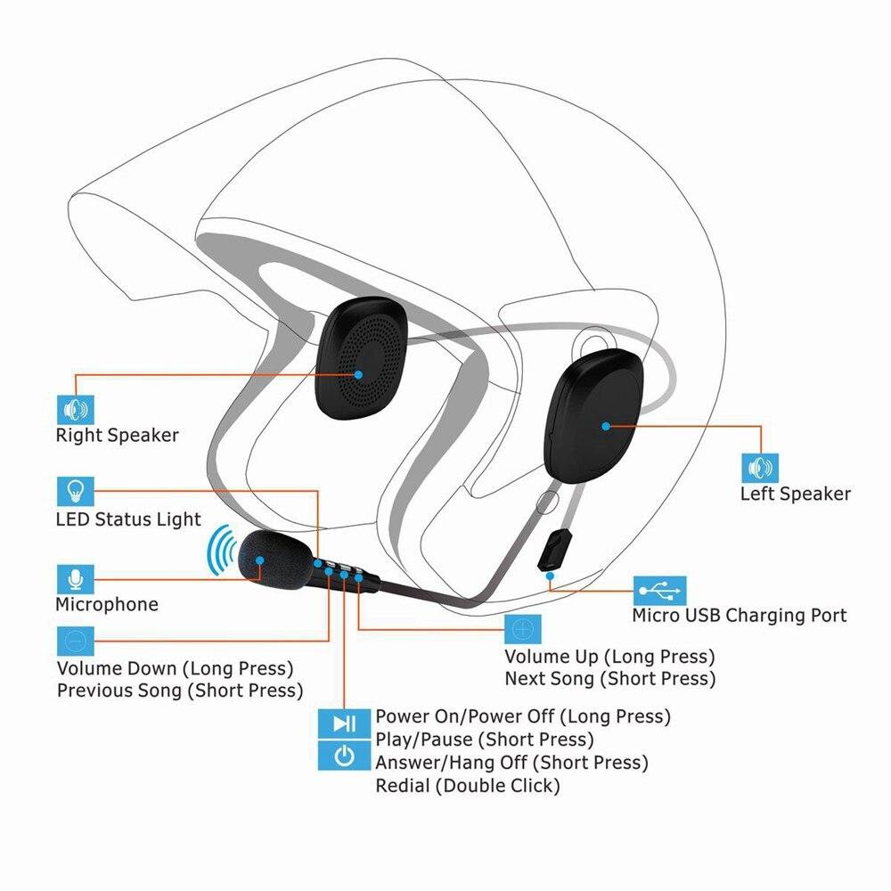 Anti-interference Helmet Headset 50M Waterproof Moto Bluetooth Wireless Hands Free Bluetooth V4.2 Intercom For Motorcycle