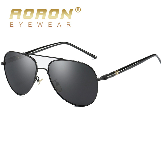 AORON Men Polarized Sunglasses Retro Classic Pilot Glasses Brand Goggoles Leisure UV400 Protection Metal Frame Oculos de sol 2
