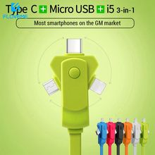FLOVEME 3 in 1 USB Cable for Mobile Phone Micro Type C Charger iPhone XR X XS Samsung Fast Charging Cord
