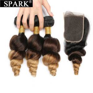 Image 3 - ניצוץ Ombre מלזי Loose גל שיער טבעי 3/4 חבילות עם סגירת רמי שיער טבעי הארכת התיכון שלוש חלק בינוני יחס