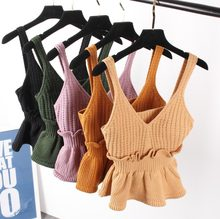 Sexy Stretchable Knit V Neck Crop Cami Tops Autumn Style 2018 Vogue Plain Women Sexy Spaghetti Strap Camisole Tank Shirt(China)