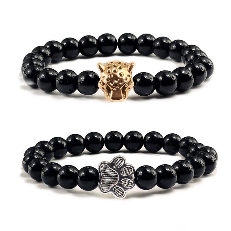 Neue Schmuck Männer Armband Schwarz Natürliche Stein Perlen Legierung Tier Buddha Chakra Armbänder Armreifen Frauen Mode Ihn Geschenke Pulseras