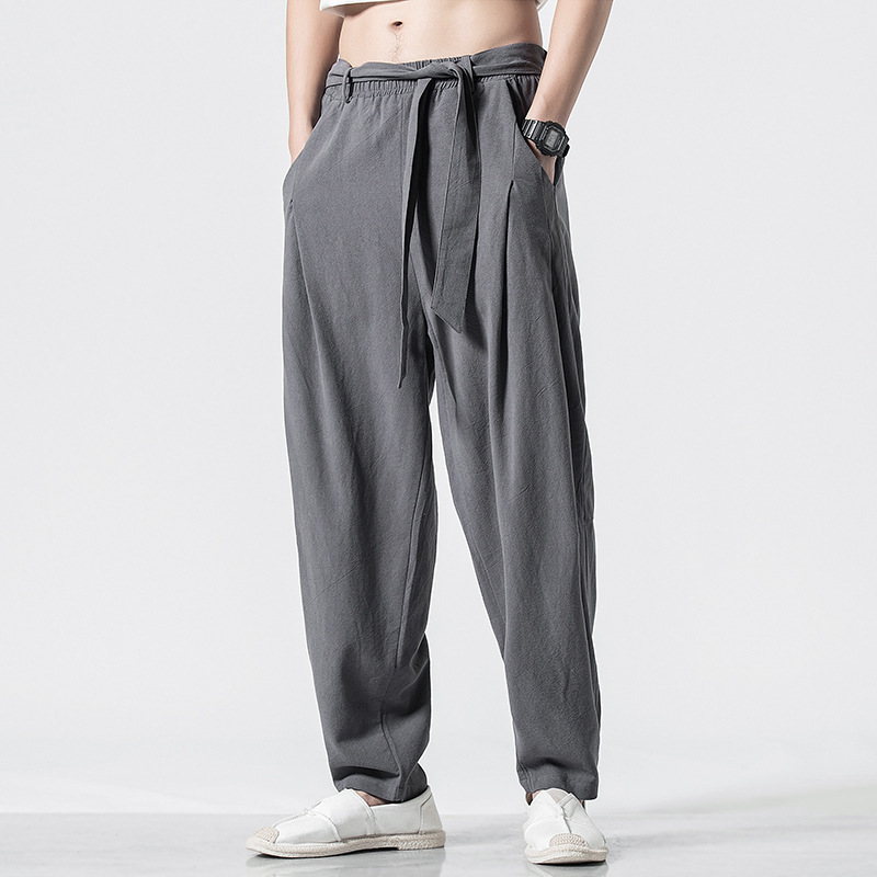 Chinese Style Chinese Costume Meditation Chinese Clothing Pants Chinese-style Men'S Wear Flax Casual Pants Loose And Plus-sized