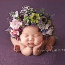 New newborn photography props flower hat baby child accessories photo studio photo decorations simulation flower woven hat