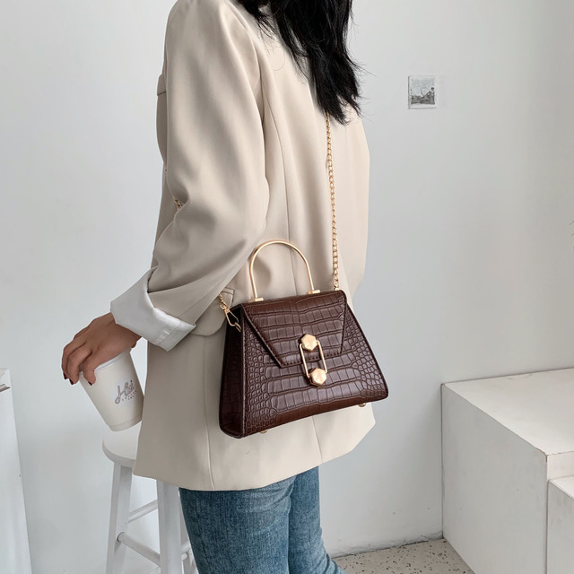 Stone Pattern PU Leather Crossbody Bags For Women 2020 Small Totes With Metal Handle Lady Shoulder Messenger Bag Handbags 2