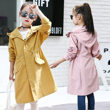 Girl Spring Outerwear 5-12Y Solid Color Hooded Jacket Casual Coats Fashion Clothes For Children Kids Trench Clothing Overcoat cheap changbvss Long COTTON Polyester Outerwear Coats Full Fits true to size take your normal size ppTZ129 Broadcloth Girls