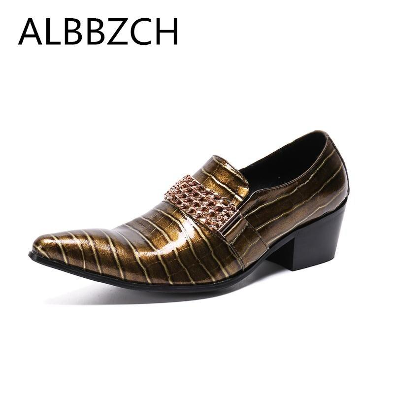 Мужские туфли с острым носком золотистого цвета мужские деловые туфли на высоком каблуке туфли без застежки Роскошные вечерние туфли смокинги из лакированной кожи; большие размеры 37 46