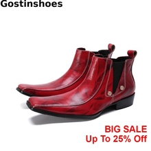 Men Boots Red Genuine Leather Square Toe Head Men Short Boots Fashion Sewing Men Ankle Boots Low Heel недорого