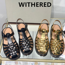 Withered ins fashion blogger retro roma gold genuine leather soft flat shoes