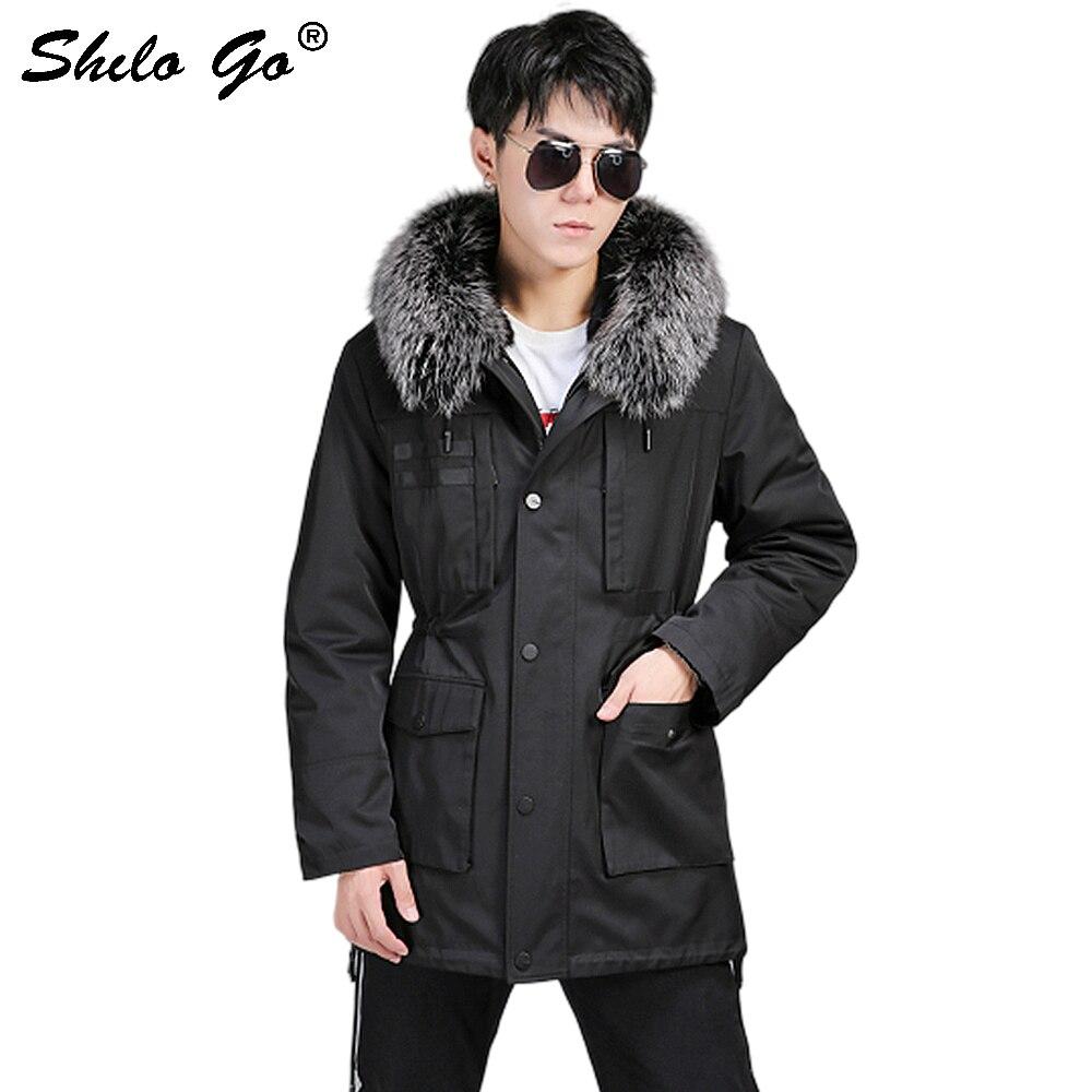 Fur Parkas Casual Real Fox Fur Collar Thick Warm Hooded Rabbit Fur Lining Coat Men Winter Plus Size Drawstring Waist Outwear