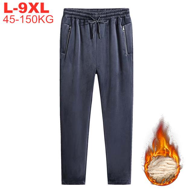 Large Size 9xl 8xl Winter Warm Sports Pants Men Casual Thicken Fleece Jogger Trackpants Men's Trousers Tactical Sweatpants Male