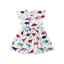 Letnie dzieci dziecko Gier sukienka maluch śliczny dinozaur ubrania bez rękawów Ruffles sukienek dla dziewczynki 1-6 lat