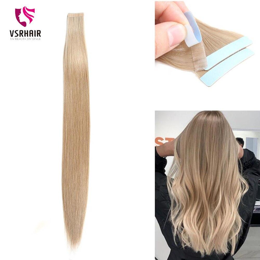 Vsr europa qualidade premium não-remy extensões de trama da pele do cabelo humano dupla espessura estirada fita sem emenda extensões de cabelo