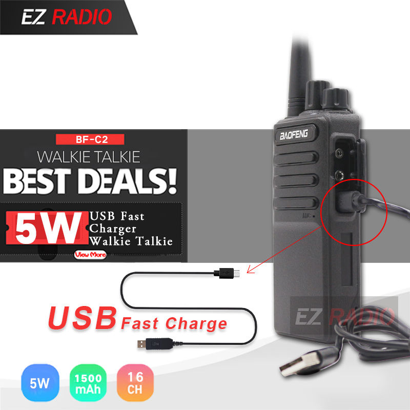 Hot 2019 Baofeng BF-V9 Baofeng C2 Radio USB Fast Charger Walkie Talkie 5W 1500mAh UHF 400-470MHz Two Way Radio BF-888 CB Radio
