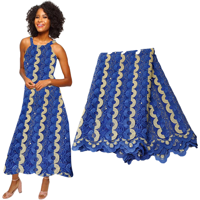 Best Selling French Lace Fabric 2019 High Quality African  Beaded Lace Fabric Nigerian Tulle Mesh Lace Fabrics