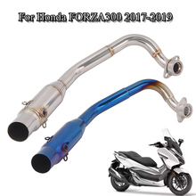 Для- Honda FORZA 300 выхлопная система мотоцикла труба передняя Соединительная труба 51 мм Глушитель стальная соединительная трубка скольжения