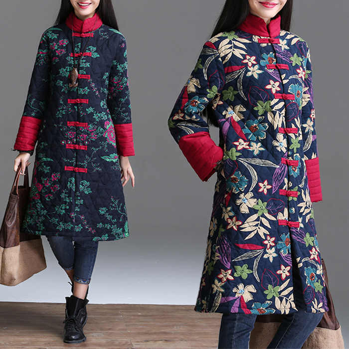 2019 Autumn Winter Woman Parkas Chinese Style Cheongsam Long Coat Female Jacket Plus Size Parkas
