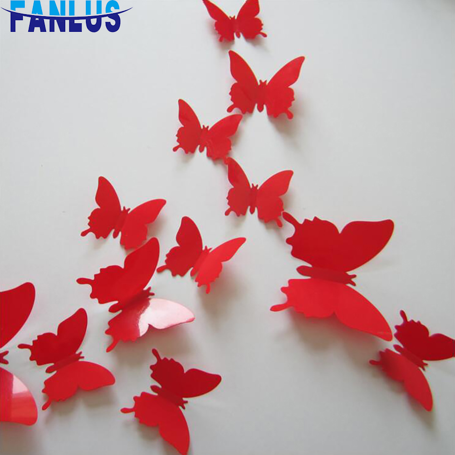 New 12Pcs double layer 3D butterfly wall stickers on the wall home decoration butterfly decoration magnet refrigerator magnet
