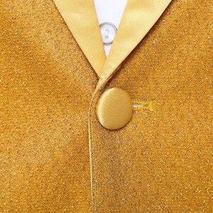Image 2 - PYJTRL Conjunto de dos piezas para hombre, chal dorado brillante de solapa, trajes de graduación, traje de esmoquin para boda, trajes para hombre, última capa, diseños de pantalón