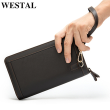 WESTAL Wallet Men Genuine cowhide Leather Coin Purse Card ho