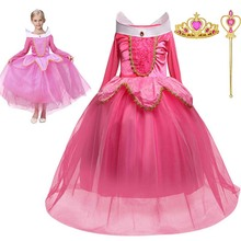3-10T Girls Halloween Spring and Autumn Aurora Princess Sleeping Beauty Dress Childrens Performance