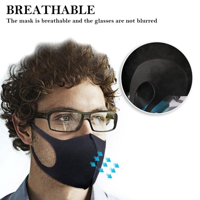 Black Face Mask Mouth Cover Washable Reusable mask Dust Soft Face Mask Breathable Unisex Anti Pollution mascherina lavabile 1