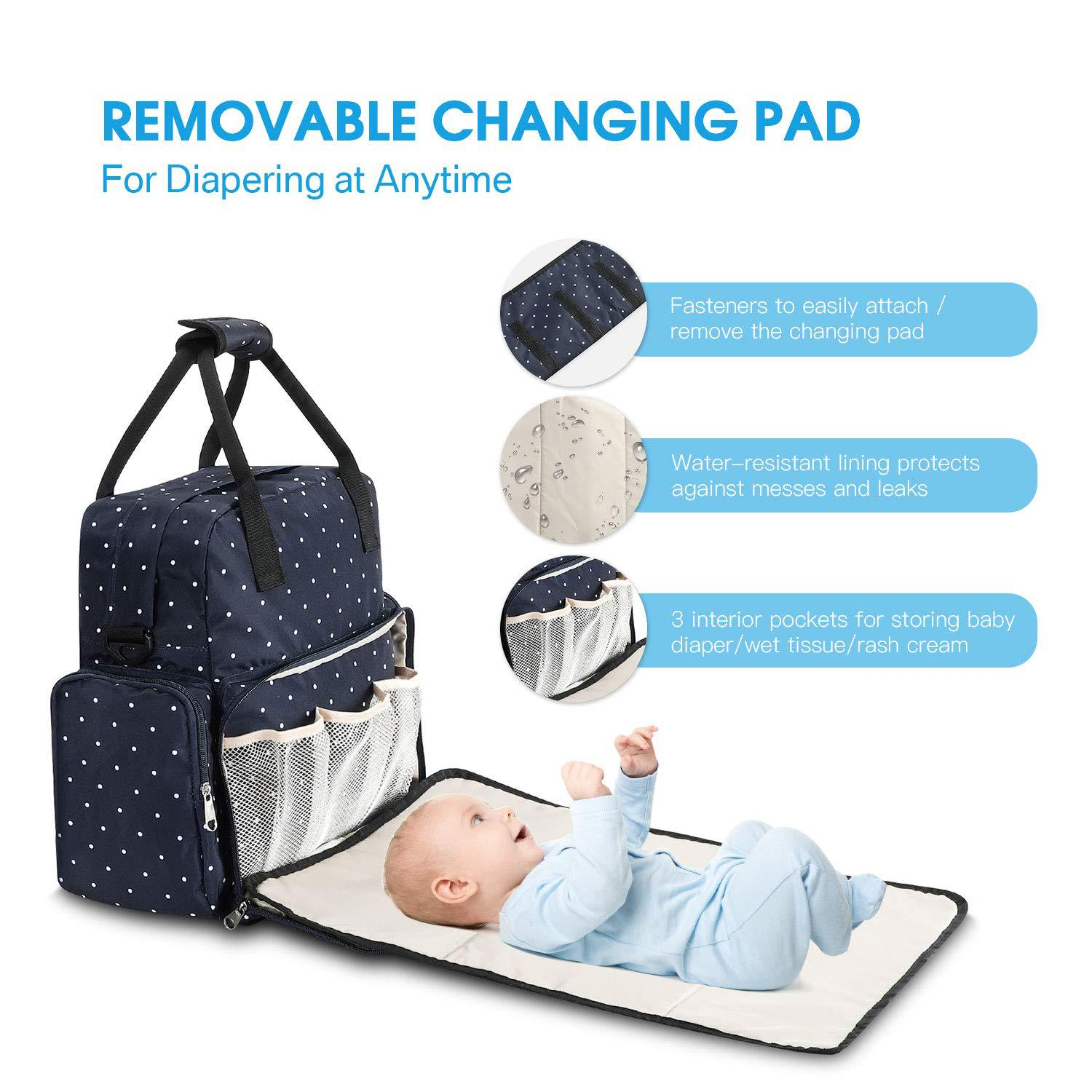 Ankommling Diaper Bag Mom Bag Multi-Function Fashion Large Capacity Mom Out Storage Bag Portable Baby Diaper Changing Mat Table