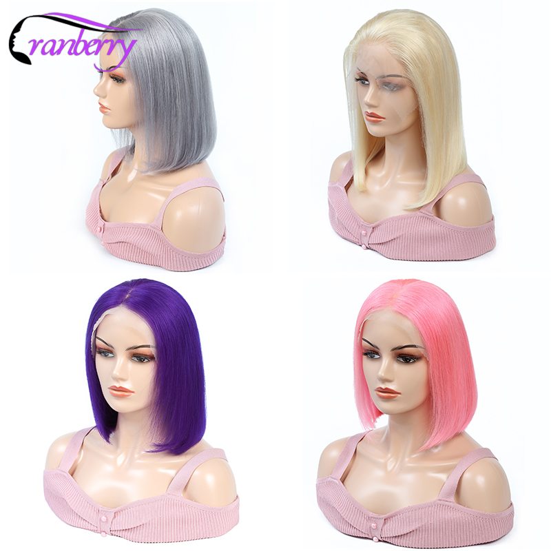 Image 5 - Cranberry Hair Remy Peruvian Wig 13X4 Short Human Hair Wigs Straight Lace Front Wig Bob Wig 613 Wig Purple Wig Grey Wig Pink Wig-in Human Hair Lace Wigs from Hair Extensions & Wigs
