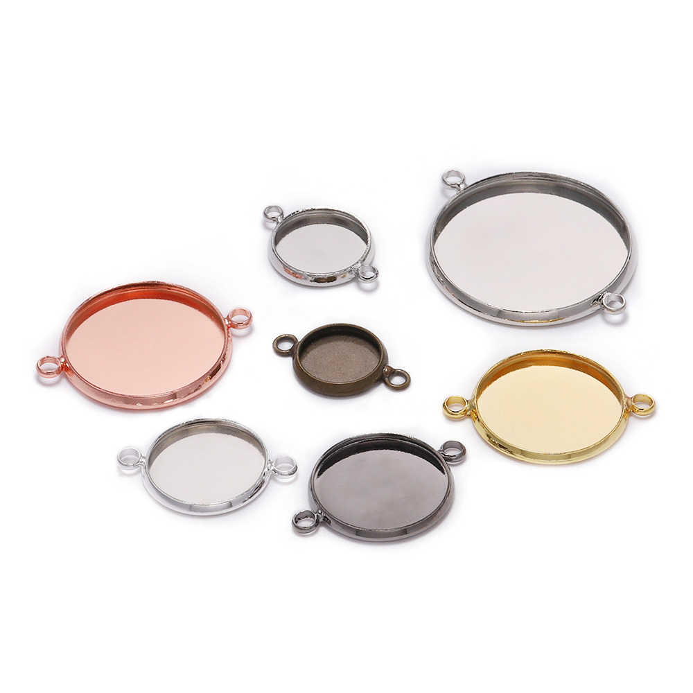 20pcs/lot 10 12mm Cabochon Base Tray Bezels Blank Silver Gold Bracelet Setting Supplies For Jewelry Making Findings Accessories